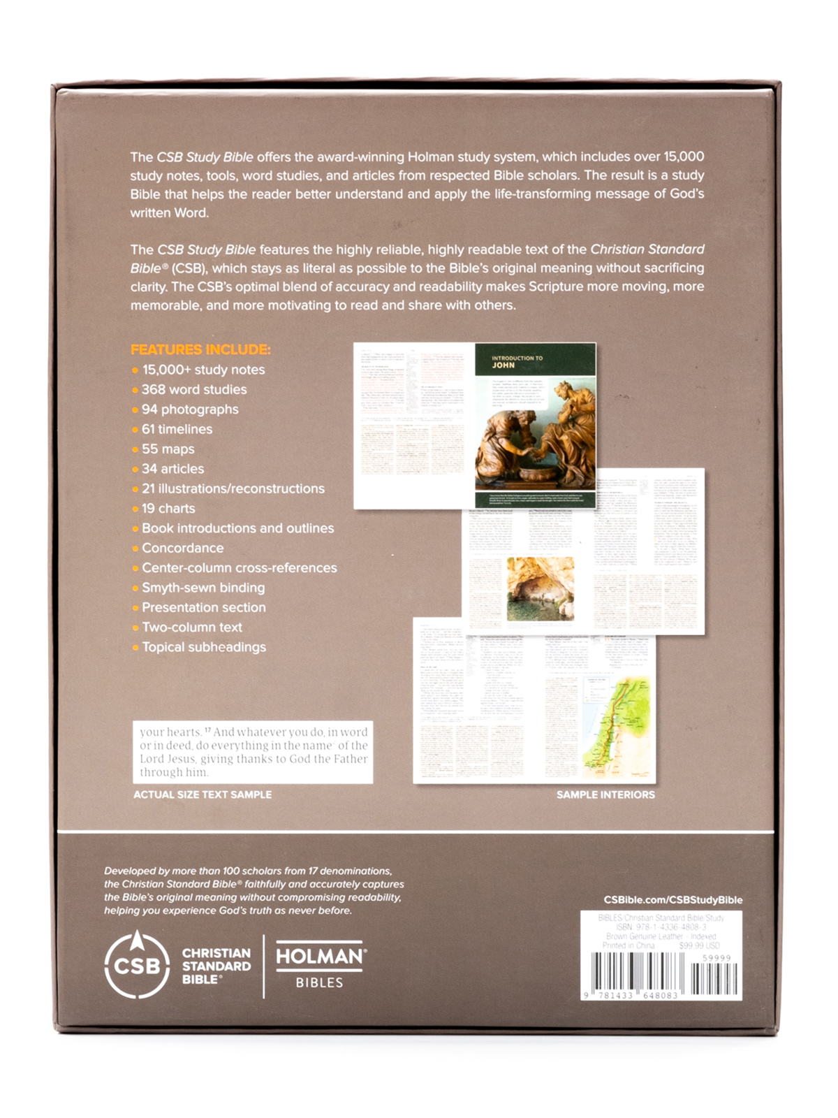 CSB Study Bible Back Cover
