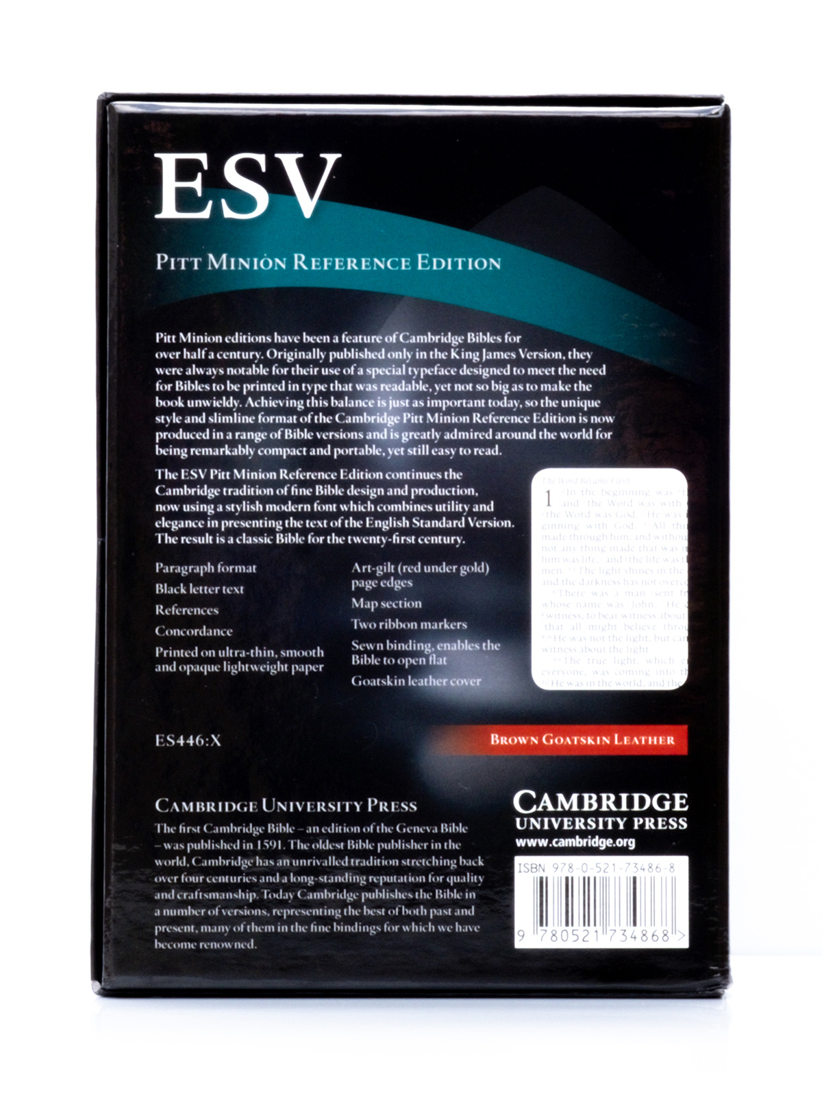 Cambridge ESV Pitt Minion Brown - Back Cover