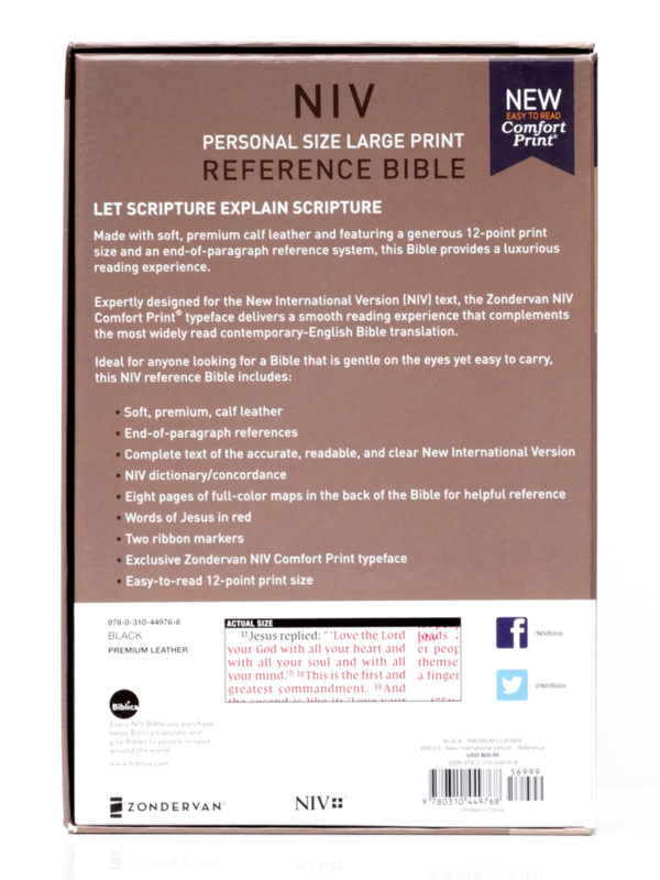 NIV Personal Reference Bible Back Cover