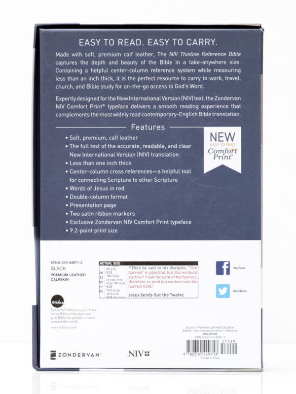NIV Premium Thinline Reference Bible Back Cover